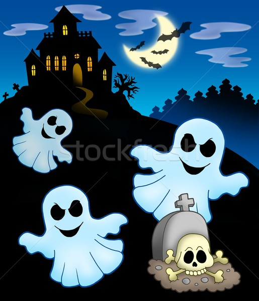 Ghosts with haunted house Stock photo © clairev