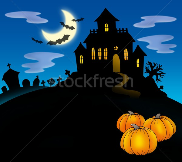 Haunted house with pumpkins Stock photo © clairev