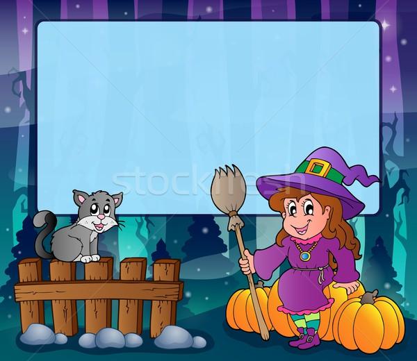 таинственный лес Хэллоуин кадр улыбка кошки Сток-фото © clairev