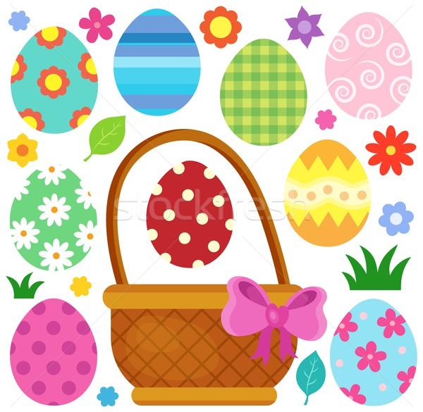 Foto stock: Ovos · de · páscoa · imagem · ovo · arte · ovos · cesta