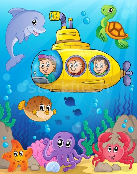 Podwodny obraz wody twarz szczęśliwy dziecko Zdjęcia stock © clairev