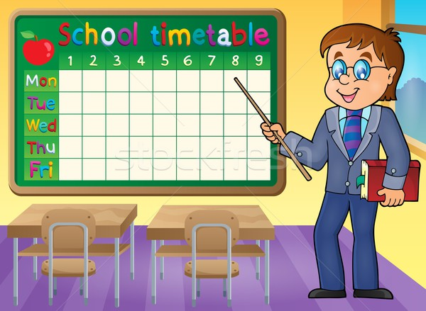 School dienstregeling man leraar kunst tabel Stockfoto © clairev