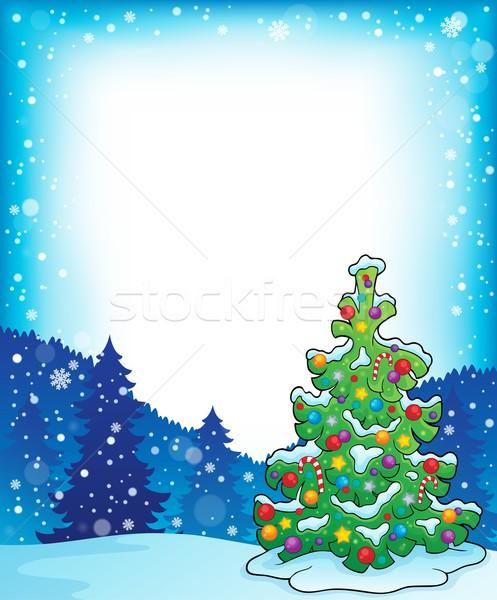 кадр рождественская елка тема дерево снега искусства Сток-фото © clairev