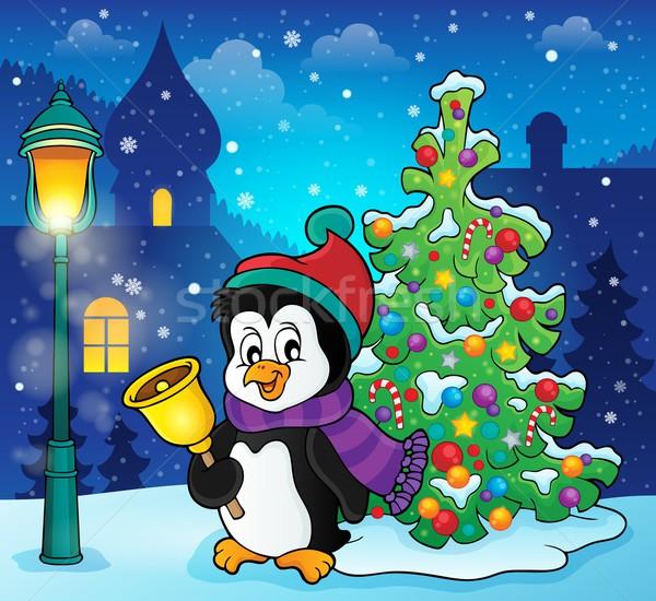 Рождества пингвин тема изображение дерево снега Сток-фото © clairev