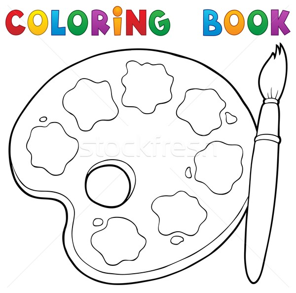 Boyama kitabı boya paletine kitap çalışmak sanat Stok fotoğraf © clairev