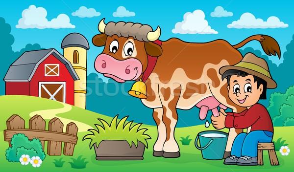 Farmer milking cow image 3 Stock photo © clairev