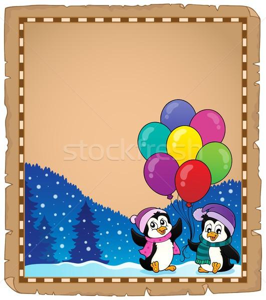 счастливым вечеринка пергаменте бумаги искусства зима Сток-фото © clairev