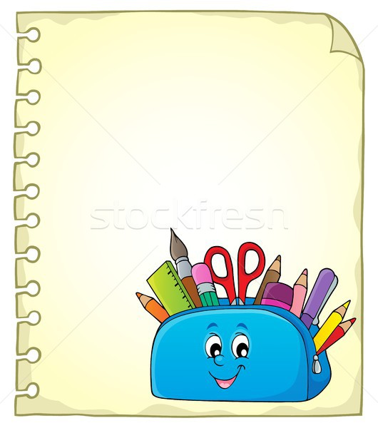 Notepad page with happy pencil case Stock photo © clairev