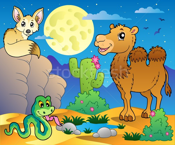 Desert scene with various animals 3 Stock photo © clairev