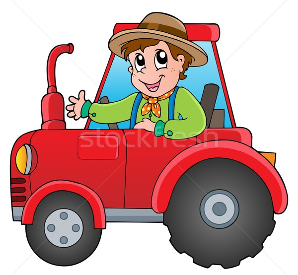Cartoon agriculteur tracteur sourire design travail Photo stock © clairev