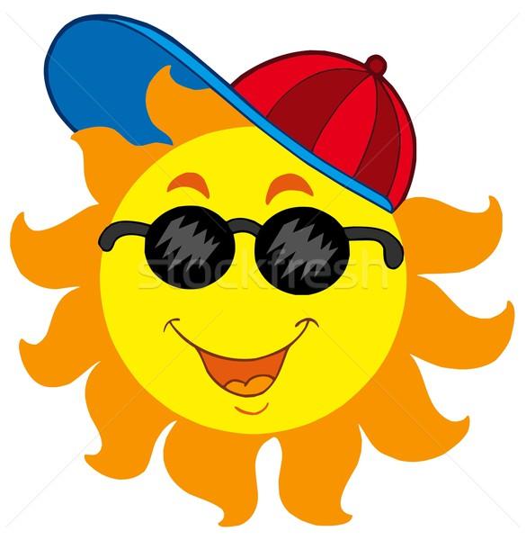 Rajz nap baseballsapka boldog nyár szemüveg Stock fotó © clairev