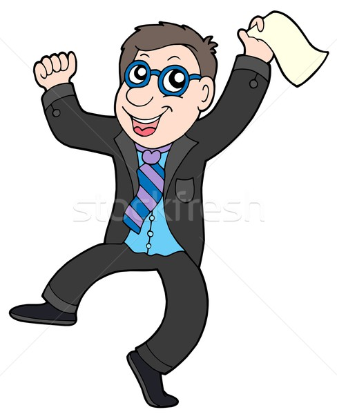 Happy jumping businessman Stock photo © clairev
