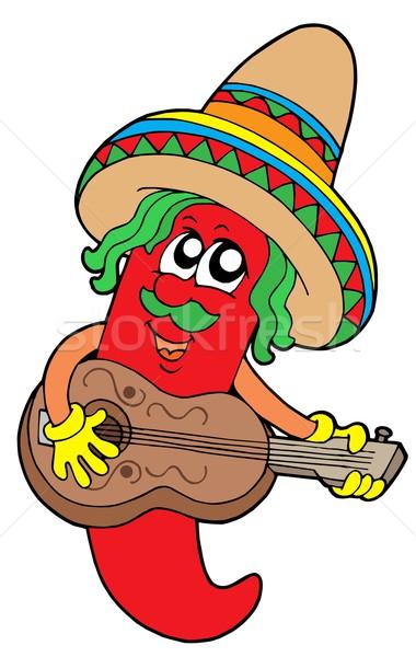 Mexicano pimenta guitarrista guitarra projeto concerto Foto stock © clairev