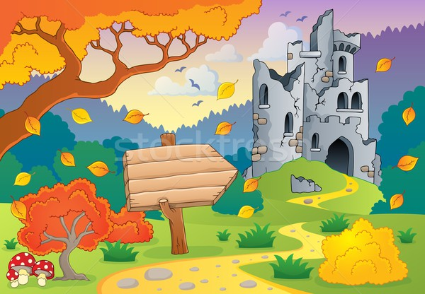 Autumn theme with castle ruins 2 Stock photo © clairev