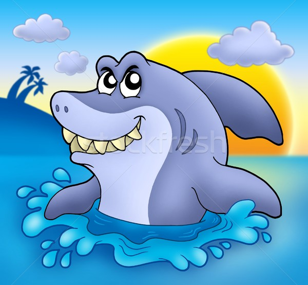 Cartoon shark with sunset Stock photo © clairev