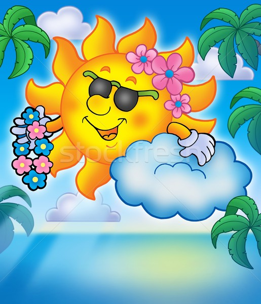 Hawaiian sun with palms Stock photo © clairev