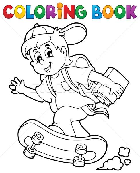 книжка-раскраска школьник улыбка книга спорт ребенка Сток-фото © clairev