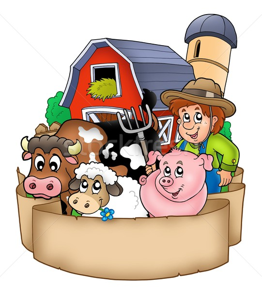 Banner with barn and country animals Stock photo © clairev
