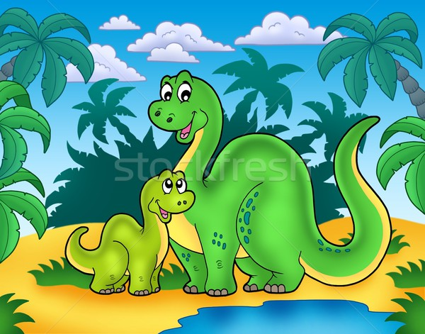 Dinosaur family in landscape Stock photo © clairev