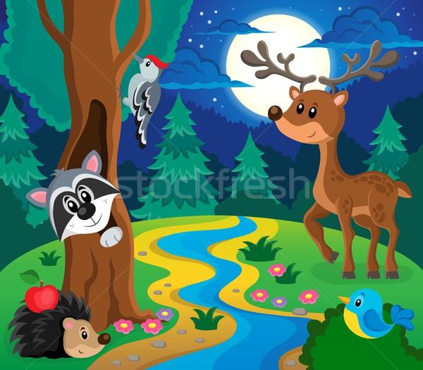 лес животные тема изображение счастливым природы Сток-фото © clairev