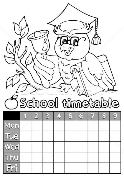 Livro para colorir horário tópico livro escolas feliz Foto stock © clairev