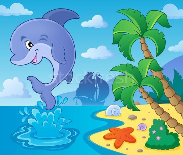 Skoki Delfin obraz plaży uśmiech ocean Zdjęcia stock © clairev