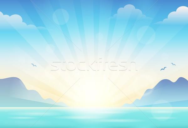 Gün batımı deniz manzarası su güneş deniz tropikal Stok fotoğraf © clairev