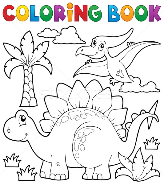 Coloring book dinosaur theme 1 Stock photo © clairev
