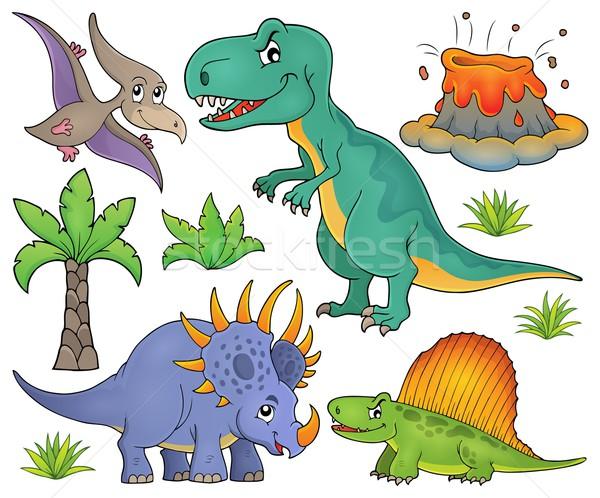динозавр тема набор искусства Palm листьев Сток-фото © clairev