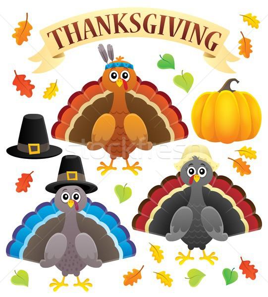 Thanksgiving turkeys thematic set 1 Stock photo © clairev