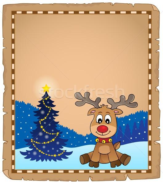 Christmas herten onderwerp perkament papier boom Stockfoto © clairev