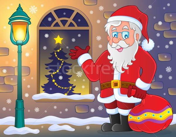 Santa Claus on sidewalk theme 3 Stock photo © clairev