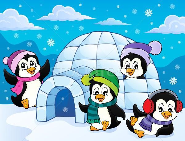 Happy winter penguins topic image 3 Stock photo © clairev
