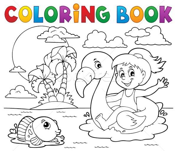 塗り絵の本 少女 フラミンゴ フロート 図書 幸せ ストックフォト © clairev