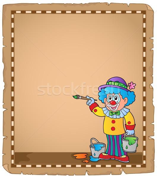 Pergament Malerei Clown Papier Spaß hat Stock foto © clairev