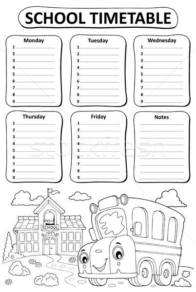 Black and white school timetable topic 3 Stock photo © clairev