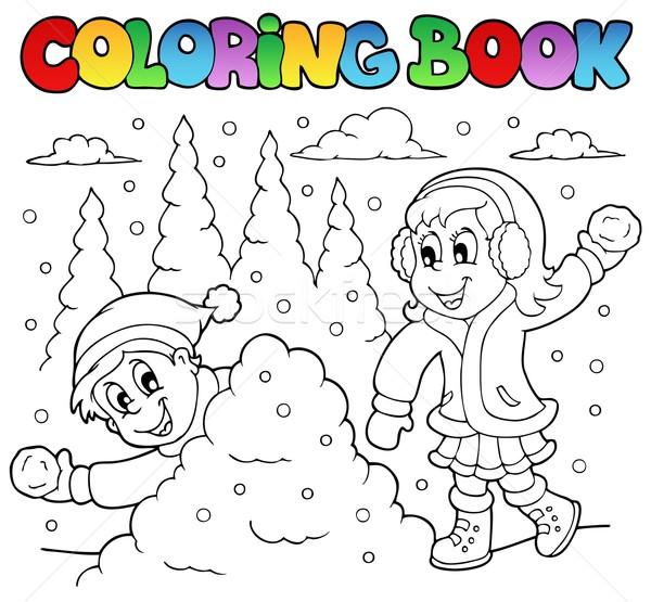 Boyama Kitabı Kış Kitap çocuklar çocuk Boya Vektör