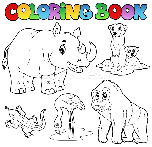 Coloring book zoo animals set 1 Stock photo © clairev