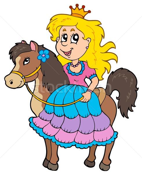 Photo stock: Cute · princesse · équitation · cheval · fleur · fille