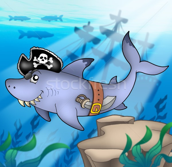 Cartoon pirate shark with shipwreck Stock photo © clairev