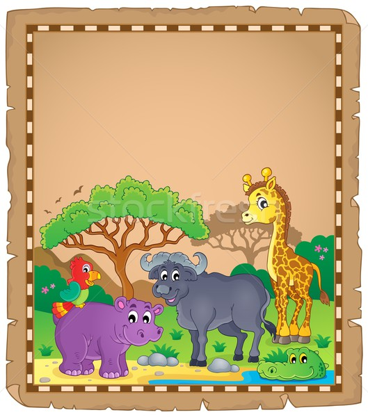 Parchment with African animals 3 Stock photo © clairev