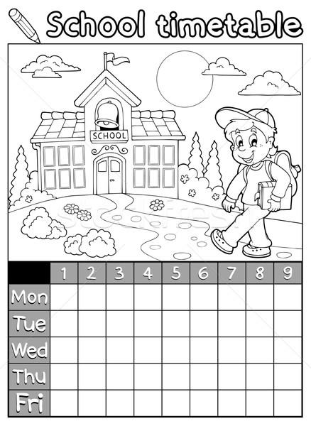 Livro para colorir escolas horário sorrir livro edifício Foto stock © clairev