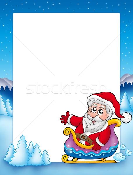 Christmas frame with Santa on sledge Stock photo © clairev