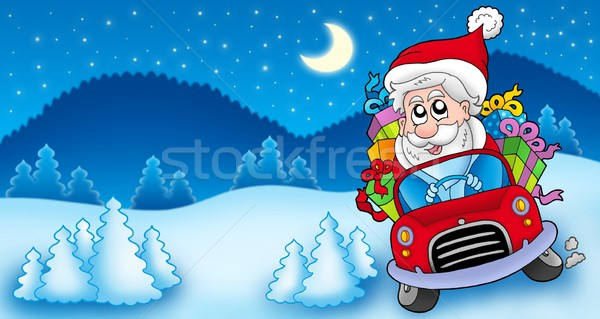 Landscape with Santa Claus driving car Stock photo © clairev