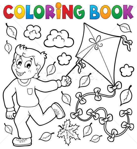Boyama Kitabı Erkek Uçurtma Kitap çocuk Boya Vektör
