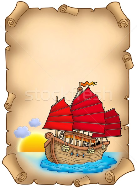 Stock photo: Old scroll with Chinese ship