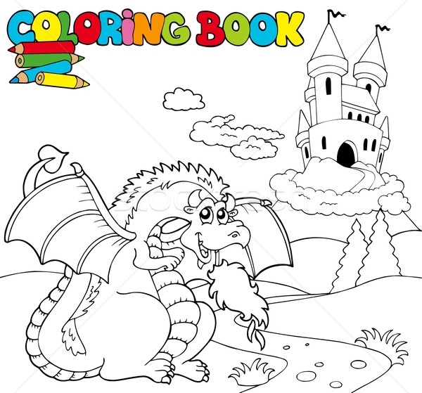 Coloring book with big dragon 1 Stock photo © clairev