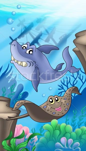 Tubarão Águia naufrágio cor ilustração mar Foto stock © clairev