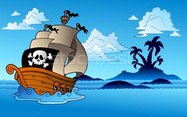 Stockfoto: Piraat · schip · eiland · silhouet · boom · zee