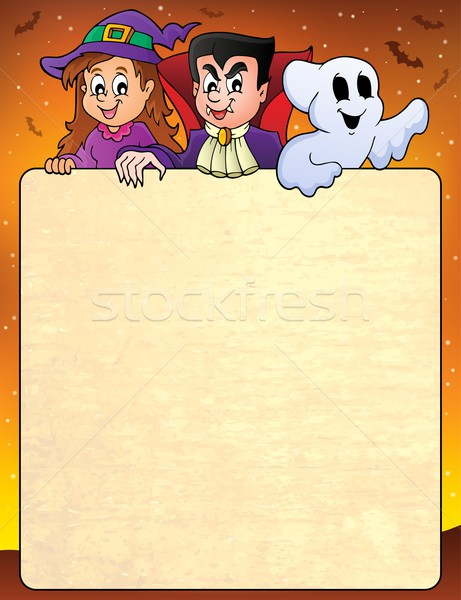 Frame with Halloween characters topic 3 Stock photo © clairev